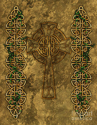 Celtic Knotwork Digital Art - Celtic Cross And Ivy by Chris MacDonald