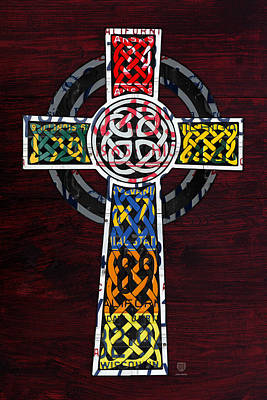 Celtic Cross License Plate Art Recycled Mosaic On Wood Board Art Print by Design Turnpike