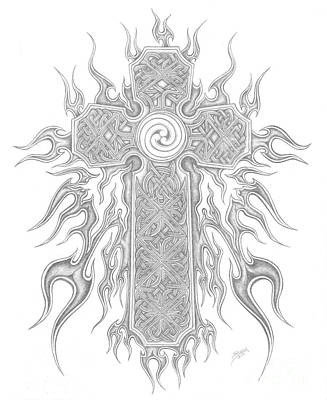 Celtic Cross Drawing - Celtic Cross On Flames by Chaotic Expressions