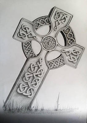 Camelot Drawing - Celtic Cross by Sean Afford