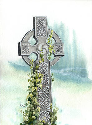 Celtic Cross With Ivy II Art Print