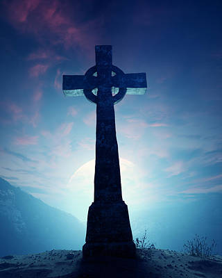 Sky Blue Photograph - Celtic Cross With Moon by Johan Swanepoel