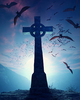 Conceptual Photograph - Celtic Cross With Swarm Of Bats by Johan Swanepoel