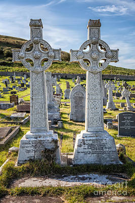 Cemetary Photograph - Celtic Crosses by Adrian Evans