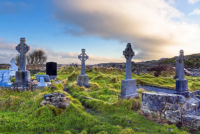 Photograph - Celtic Crosses In An Old Irish Cemetery by Mark E Tisdale