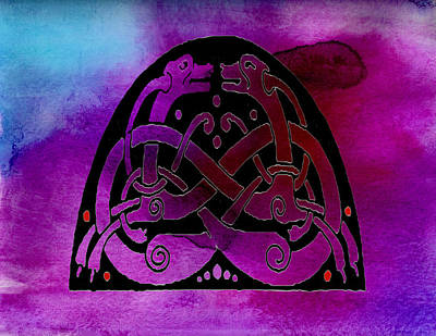 Scottish Dog Digital Art - Celtic Dogs Symbol  by Kandy Hurley
