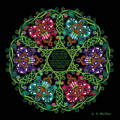Inspirational Digital Art - Celtic Fairy Mandala by Celtic Artist Angela Dawn MacKay