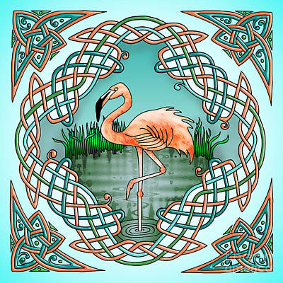 Drawing - Celtic Flamingo Art by Kristen Fox
