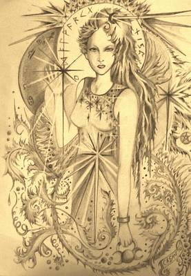 Wiccan Drawing - Celtic Goddess by Rachel Henderson