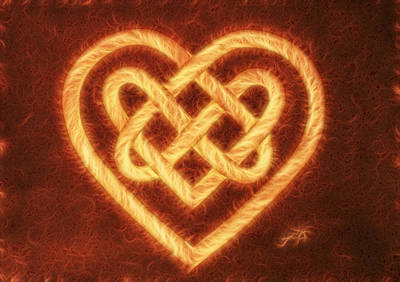 Celtic Knot Painting - Celtic Heart Knot Digital Coffee by Georgeta Blanaru