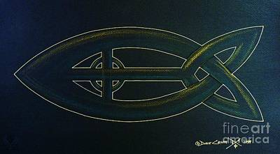 Celtic Cross Drawing - Celtic Icthus by Dale Crum