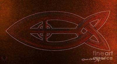 Celtic Cross Drawing - Celtic Icthus Fire by Dale Crum