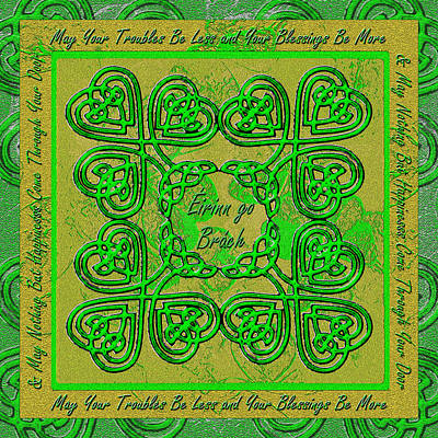Celtic Knotwork Digital Art - Celtic Irish Clover Home Blessing by Michele Avanti