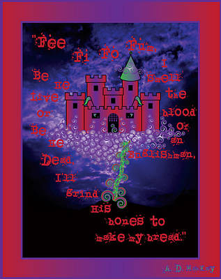 Celtic Digital Art - Celtic Jack And The Beanstalk In Red by Celtic Artist Angela Dawn MacKay