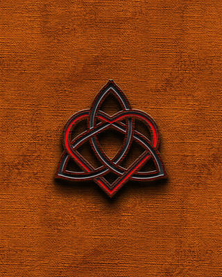 Digital Art - Celtic Knotwork Valentine Heart Canvas Texture 1 Vertical by Brian Carson