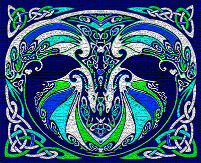 Celtic Love Dragons Art Print