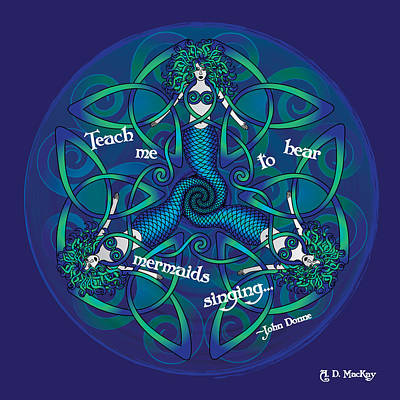 Mermaid Digital Art - Celtic Mermaid Mandala In Blue And Green by Celtic Artist Angela Dawn MacKay