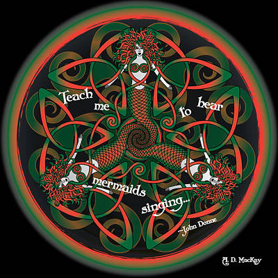 Mermaid Digital Art - Celtic Mermaid Mandala In Orange And Green by Celtic Artist Angela Dawn MacKay