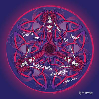 Knotwork Digital Art - Celtic Mermaid Mandala In Pink And Purple by Celtic Artist Angela Dawn MacKay