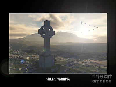 Celtic Cross Drawing - Celtic Morning by Russell Smeaton