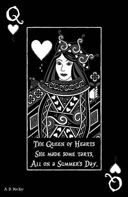 Nursery Rhyme Digital Art - Celtic Queen Of Hearts Part I In Black And White by Celtic Artist Angela Dawn MacKay