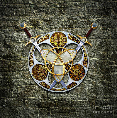 Celtic Knotwork Digital Art - Celtic Shield And Swords by Chris MacDonald