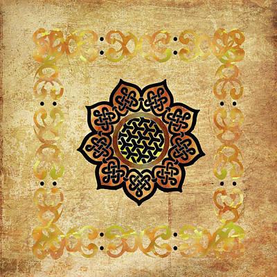 Digital Art - Celtic Shield Knot Symbol Golden by Kandy Hurley