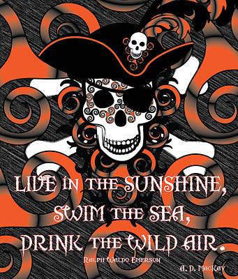 Fairy Digital Art - Celtic Spiral Pirate In Orange And Black by Celtic Artist Angela Dawn MacKay