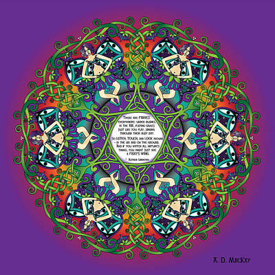 Fairy Tale Digital Art - Celtic Spring Fairy Mandala by Celtic Artist Angela Dawn MacKay