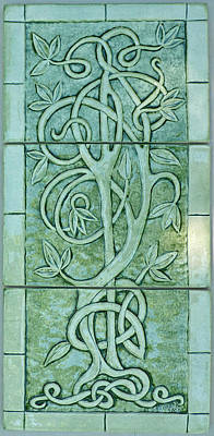 Ceramic Sculpture - Celtic Tree Of Life Relief Carved Ceramic Tile Set by Shannon Gresham