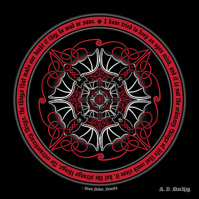 Digital Art - Celtic Vampire Bat Mandala by Celtic Artist Angela Dawn MacKay