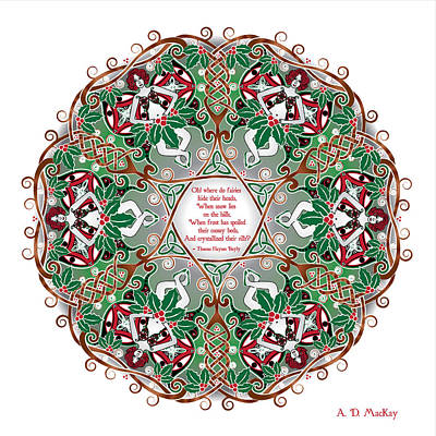 Digital Art - Celtic Winter Fairy Mandala by Celtic Artist Angela Dawn MacKay