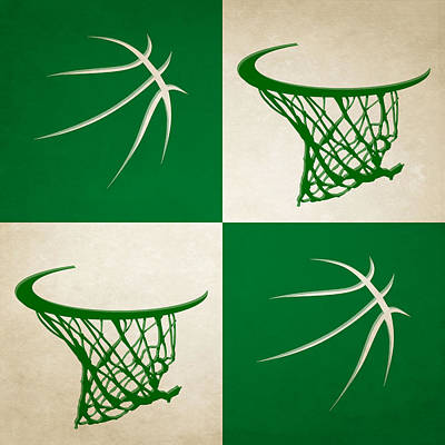 Celtics Ball And Hoop Art Print by Joe Hamilton