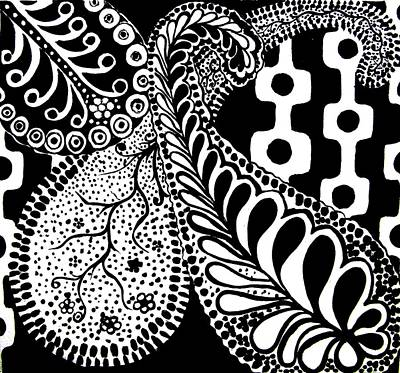 Monotone Painting - Cem-black-white-001-contemporary Ethnic Mix by Pat Bullen-Whatling