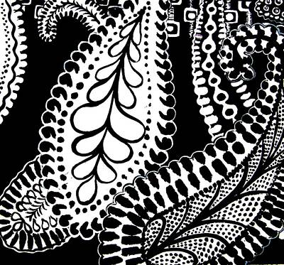 Monotone Painting - Cem-black-white-002-contemporary Ethnic Mix by Pat Bullen-Whatling