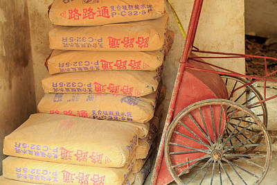 Cement Photograph - Cement Bags And Cart, Nanfeng Kiln by Stuart Westmorland