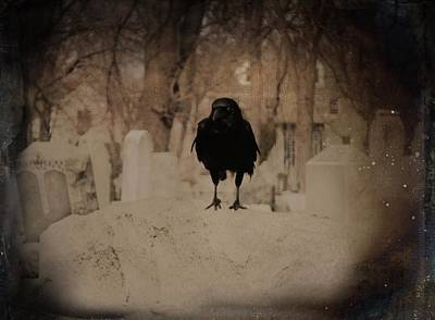 Graveyard Digital Art - Cemetery Bird by Gothicrow Images