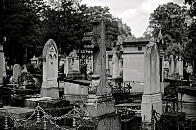 Blue Hues - Cemetery Black and White by Clyn Robinson