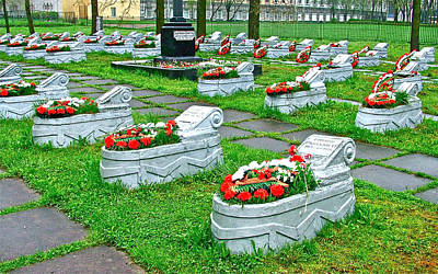 Chesme Photograph - Cemetery For Heroes Of The Siege Of Leningrad Behind Chesme Church In Saint Petersburg-russia by Ruth Hager