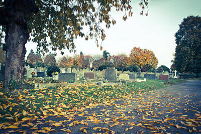 Sadness Photograph - Cemetery In Autumn by Tom Gowanlock