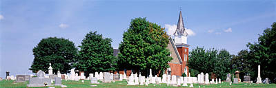 Cemetery In Front Of A Church Print by Panoramic Images