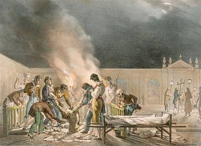 Torture Wall Art - Drawing - Cemetery Of Bourg Ste. Esprit, Engraved by Antoine Jean-Baptiste Thomas