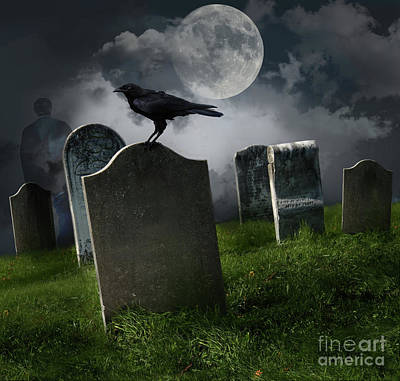 Cemetery With Old Gravestones And Moon Art Print by Sandra Cunningham