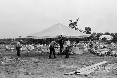 Photograph - Cemetery Workers Preparing For A Burial by Tom Brickhouse