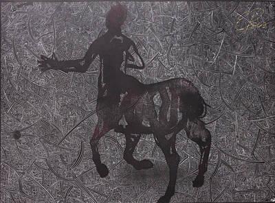 Centaur Mixed Media - Centaur In Negative by Ewa Pacia