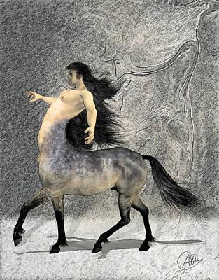 Framed Art Drawing - Centaur by Quim Abella