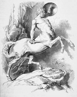 Centaur Drawing - Centaurs Can Use Weapons Just  Like by  Illustrated London News Ltd/Mar