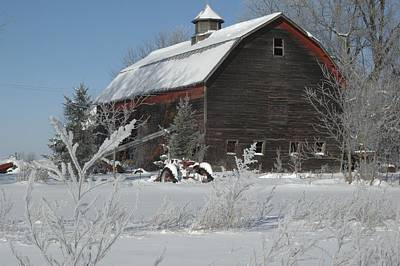 Barns In Snow Photograph - Centennial Barn In Michigan by Julie Ketchman