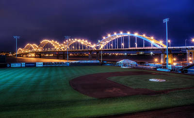 Bridge Photograph - Centennial Bridge And Modern Woodmen Park by Scott Norris