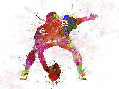 Playing Football Painting - Center American Football Player Man by Pablo Romero